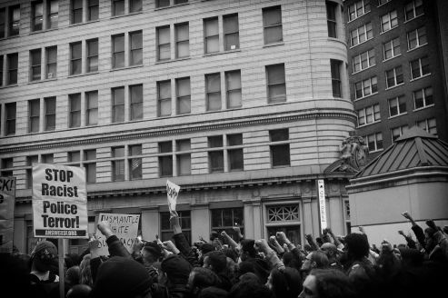 Clinched Fists Against Police Brutality (Black Lives Matters Series), Oakland CA, Summer 2016.